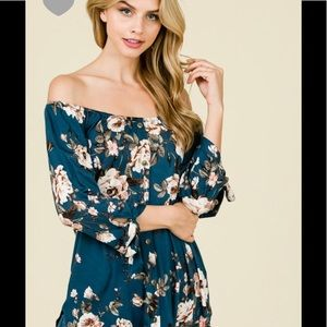 Teal floral off shoulder tie sleeve top